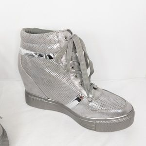 Forever High Top Silver Metallic Sneakers